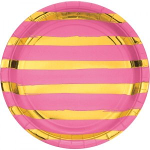 Gold foiled pink large paper plates abstract lines 8/pcs