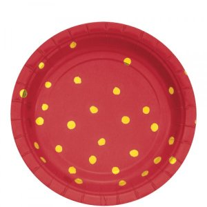 Gold Foiled Red small paper plates Abstract Dots 8/pcs