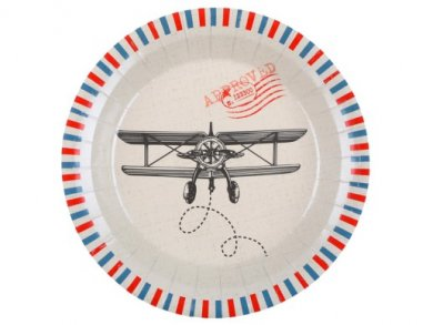Vintage Airplane Large Paper Plates (10pcs)