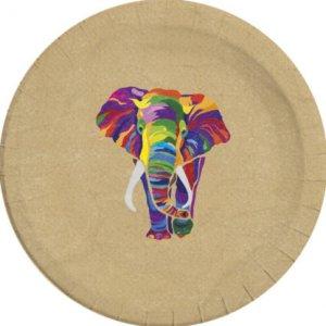 Africa Elephant Large Paper Plates (8pcs)
