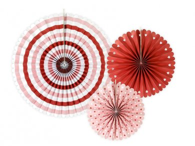 Pink-Red-White Paper Fan Decoration (3pcs)