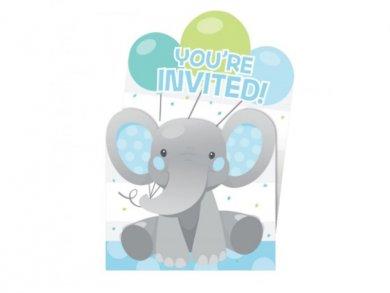 Boy Elephant Party Invitations (8pcs)