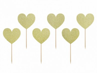 Gold Glitter Heart Shaped Decorative Picks (6pcs)