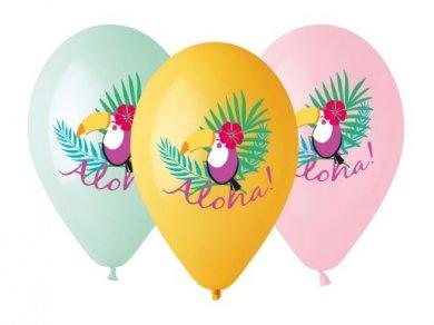 Aloha Latex Balloons with Parrots (5pcs)