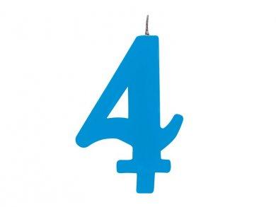 Number 4 Cake Candle Light Blue Color (7,5cm)
