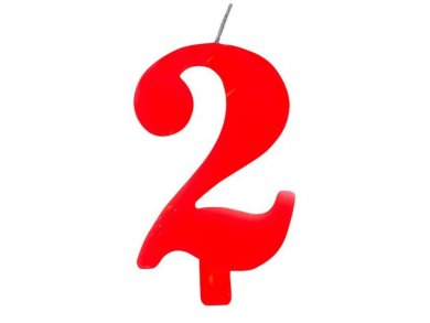 2 Number Two Red Cake Candle (7,5cm)