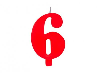 6 Number Six Red Cake Candle (7,5cm)