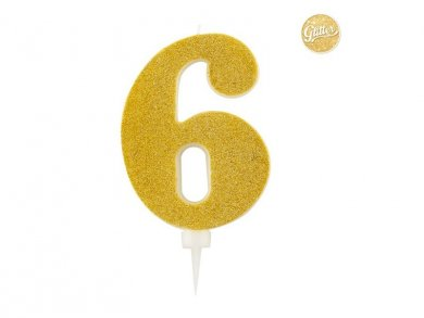 6 Number Six Gold with Glitter Giant Cake Candle (12,5cm)