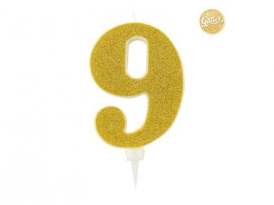 9 Number Nine Gold with Glitter Giant Cake Candle (12,5cm)