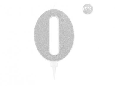 0 Number Zero Silver with Glitter Giant Cake Candle (12,5cm)