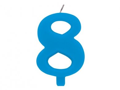 8 Number Eight Light Blue Cake Candle (7,5cm)