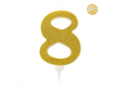 8 Number Eight Gold with Glitter Giant Cake Candle (12,5cm)