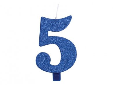 5 Number Five Blue with Glitter Cake Candle (7,5cm)