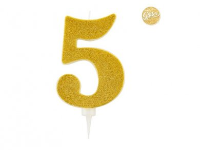5 Number Five Gold with Glitter Giant Cake Candle (12,5cm)