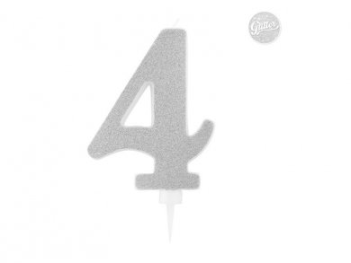 4 Number Four Silver with Glitter Giant Cake Candle (12,5cm)