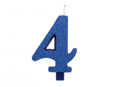 4 Number Four Blue with Glitter Cake Candle (7,5cm)