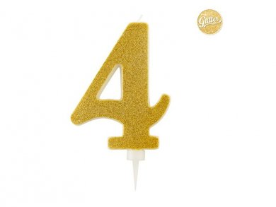 4 Number Four Gold with Glitter Giant Cake Candle (12,5cm)