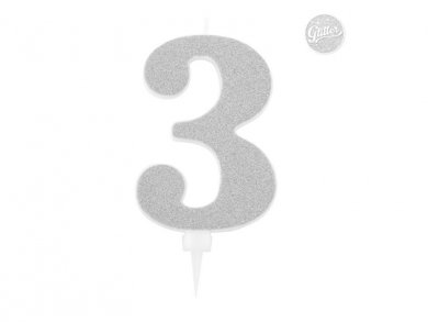 3 Number Three Silver with Glitter Giant Cake Candle