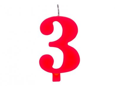 3 Number Three Red Cake Candle (7,5cm)