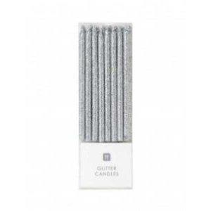 Glitter Silver Thin Cake Candles (16pcs)