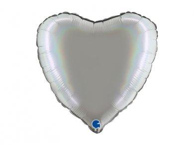 Ασημί Ολογραφικό Τύπωμα Μπαλόνι Καρδιά (46εκ)