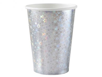 Silver Paper Cups with Holographic Print (10pcs)