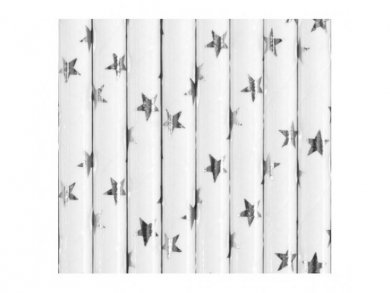 White Paper Straws with Silver Foiled Stars 10pcs