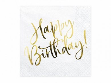 White Luncheon Napkins With Gold Foiled Happy Birthday (20pcs)