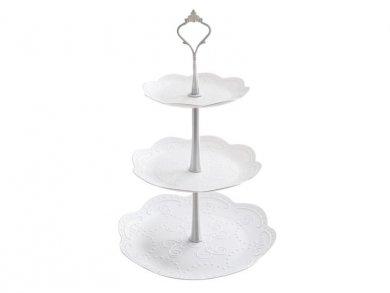 White Round Cake 3 Layer Stand (24,5cm X 37,5cm)
