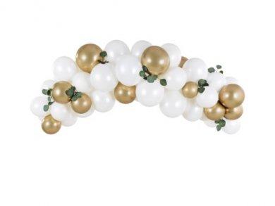Άσπρο και Χρυσό Γιρλάντα - Άψιδα με Λάτεξ Μπαλόνια (2μ)