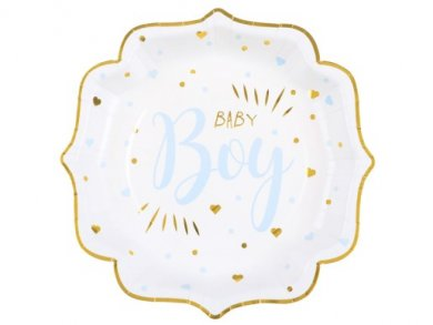 Baby Boy Pale Blue and Gold Foiled Paper Plates (10pcs)