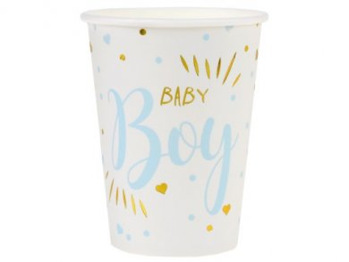 Baby Boy Pale Blue and Gold Foiled Paper Cups (10pcs)