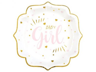 Baby Girl Ροζ με Χρυσοτυπία Πιάτα Χάρτινα (10τμχ)