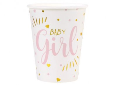 Baby Girl Pink and Gold Foiled Paper Cups (10pcs)
