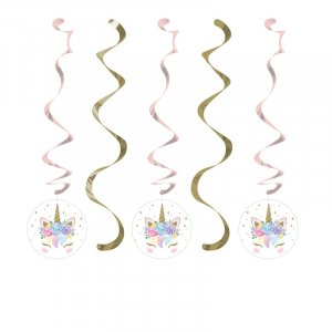 Baby Unicorn Hanging Swirl Decoration (5pcs)