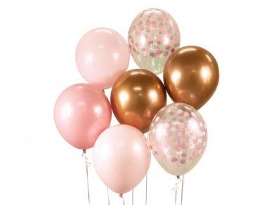 Beauty and Charm Ροζ Μπαλόνια Λάτεξ με Ροζ Κομφετί (7τμχ)