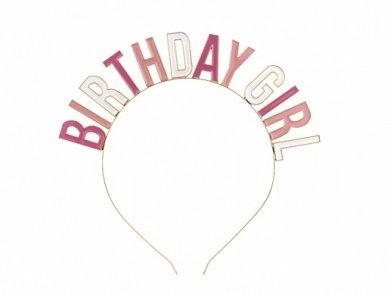 Birthday Girl Χρυσή Μεταλλική Στέκα με Ροζ Γράμματα