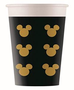 Black and Gold Mickey Mouse Paper Cups (8pcs)