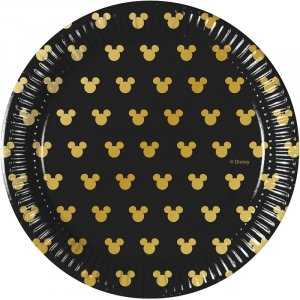 Black and Gold Minnie Mouse Small Paper Plates (8pcs)