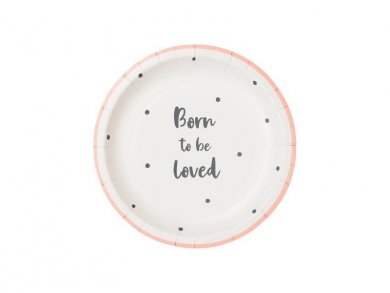 Born to Be Loved Pink Small Paper Plates (12pcs)