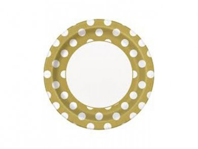Gold large paper plates with dots 8/pcs