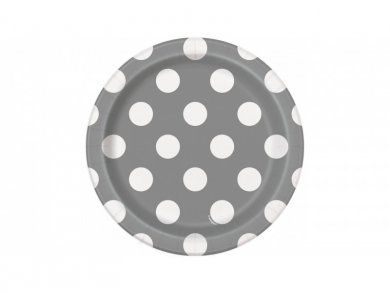 Silver Small Paper Plates with Dots (8pcs)