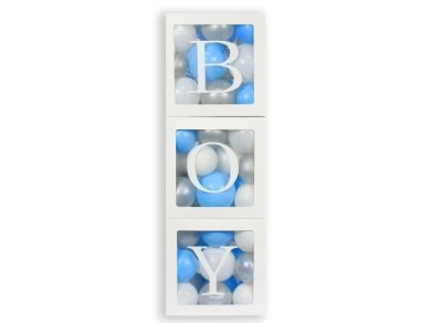 BOY Paper Cubes for Balloons with Transparent Surface (3pcs)