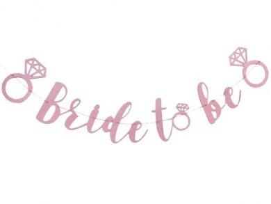 Bride to Be Ροζ Γκλιτεράτι Γιρλάντα με Μονόπετρα Δαχτυλίδια (150εκ)
