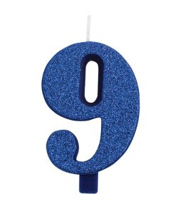 Cake Candle Number 9 (Nine) Blue with Glitter (7,5cm)