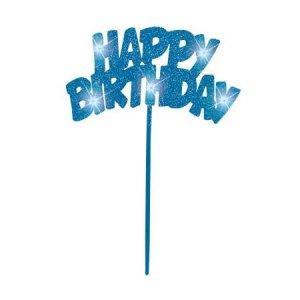 Blue Flashing Happy Birthday Cake Decoration