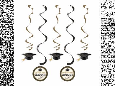 Classic Graduation Hanging Swirl Decorations 5pcs