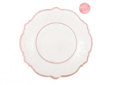 Classic Large Paper Plates with Rose Gold Foiled Print (8pcs)