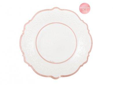 Classic Μεγάλα Χάρτινα Πιάτα με Ροζ Χρυσό Μεταλλικό Τύπωμα (8τμχ)
