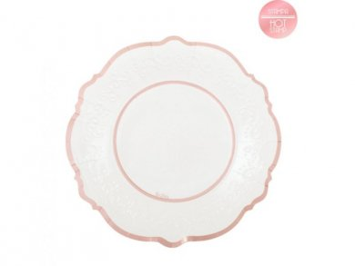 Classic Small Paper Plates with Rose Gold Foiled Print (8pcs)